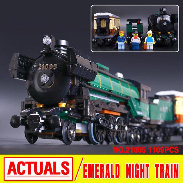 LEPIN 21005 1085 Unids Serie Técnica Esmeralda Noche Tren Modelo Kit de Construcción de Ladrillos de Juguete Bloques Compatible Con Educativos 10194