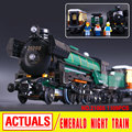 LEPIN 21005 1085Pcs Technic Series Emerald Night Train Model Building Kit Blocks Bricks Toy Compatible With Educational 10194