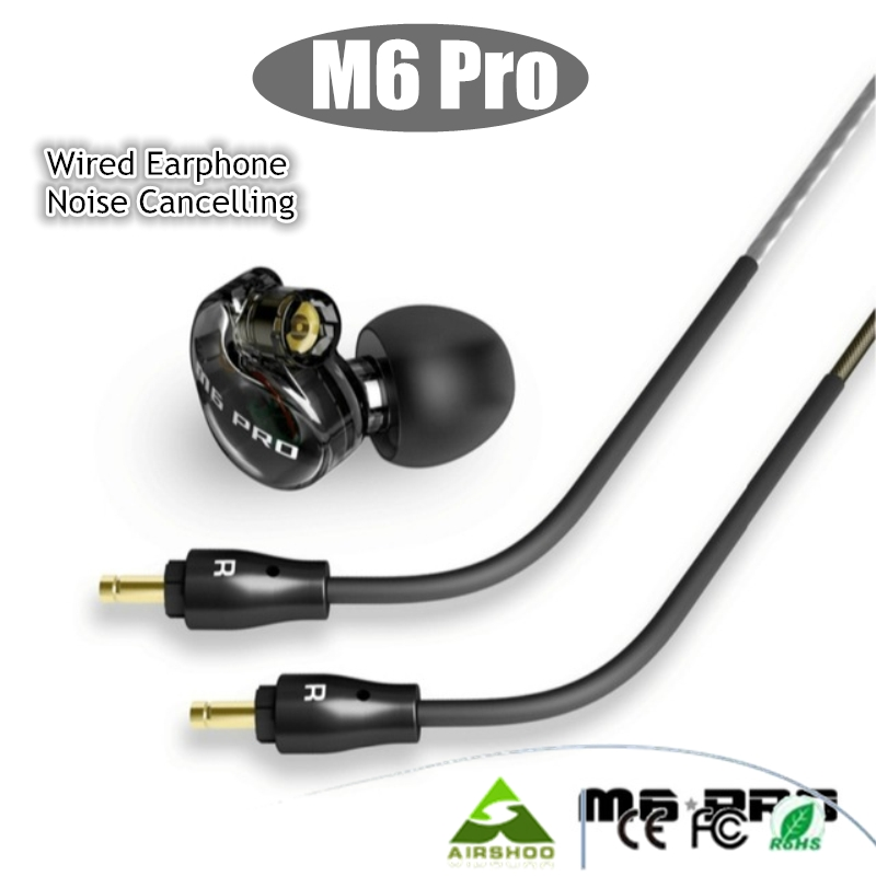 ФОТО DHL Free 2PCS Black / White M6 PRO Universal 3.5mm Wired In-ear Earphone Noise -Isolating Musician Monitors Brand New Headphones