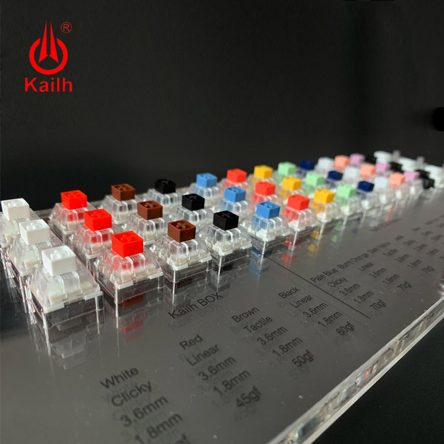 Kailh BOX 45 Keys Mechanical Keyboard Switches Tester Translucent Clear Keycaps Kit For Kailh MX Sampler Caps Testing Tool