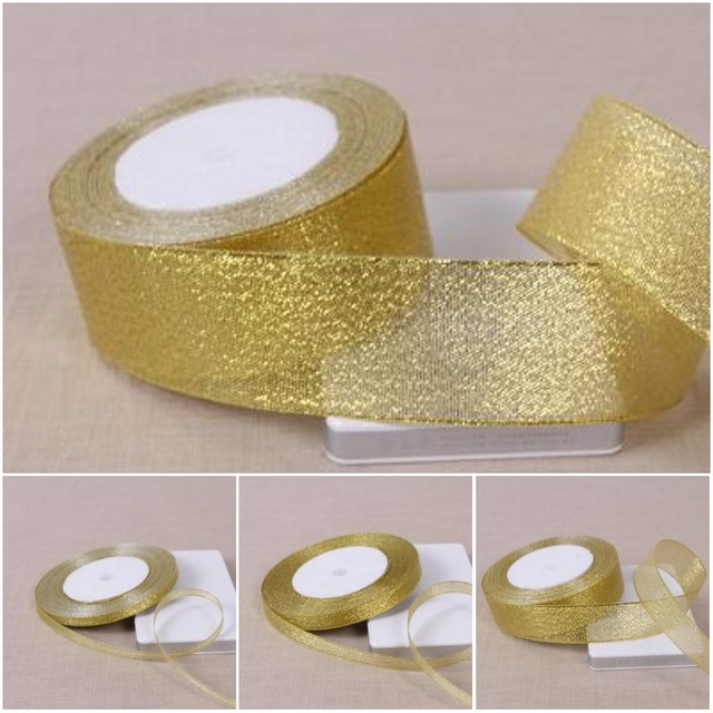 US $0 63 10% OFF|1 Roll 25 Yards Gold Polyester Ribbon Chrismas Wedding  Decoration Gift Wrap Box Package Onion Fabric Ribbons DIY Accessories-in