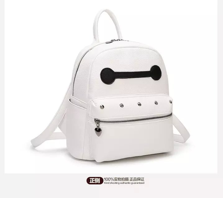 7c8cac524698 Fashion backpacks for teenage girls leather school bag Baymax big small  size women pu leather backpack white-in Backpacks from Luggage   Bags on ...