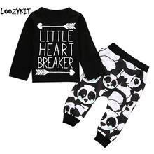 Loozykit Одежда для новорожденных малышей наборы для детей длинный рукав  стрелка футболки с надписями + принт с пандой брюки дет. aecbaea912cf9