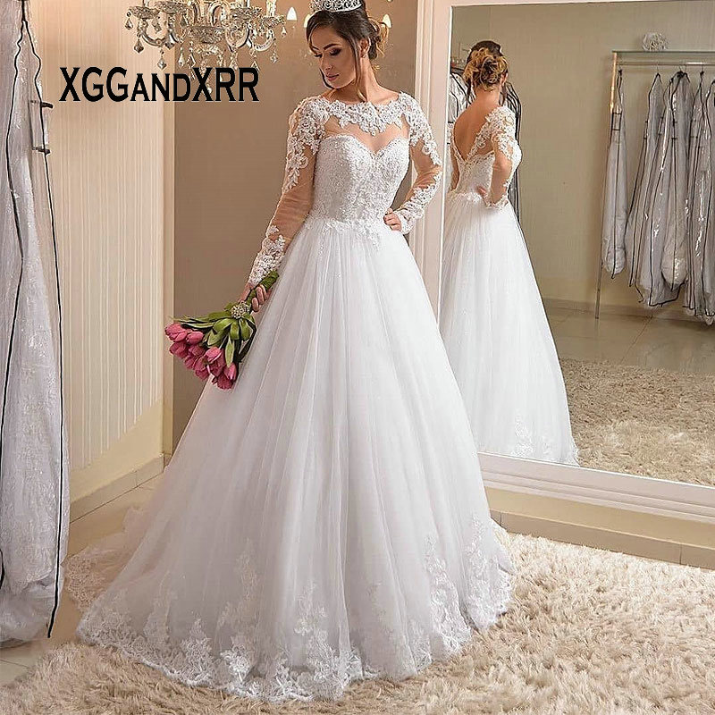 266d585bbcea0 Lüks Bir Çizgi Uzun Kollu düğün elbisesi 2019 gelin kıyafeti Scoop Dantel  Aplike ile Boncuk Sweep