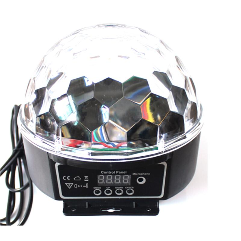 Portable Voice-Activated Mini RGB LED Crystal Magic Ball Stage Lighting Effect Lamp Bulb Party Disco Club DJ Light Show