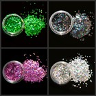 12 Boxes Holographic Nail Glitter Powder Set 12 Colors Laser Holo Glitter Sequins Dust Manicure for Nail Art Decoration #PLB-02#