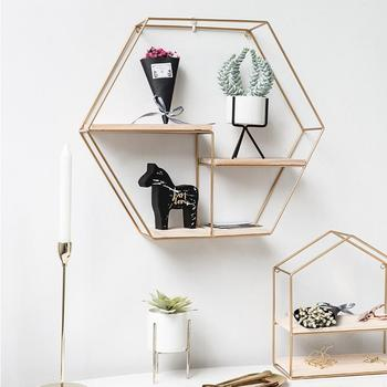 Innovative Geometric Shape Living Room Storage Rack Wall Shelf Wall-mounted Decoration Pendant Restaurant Porch Room Decor