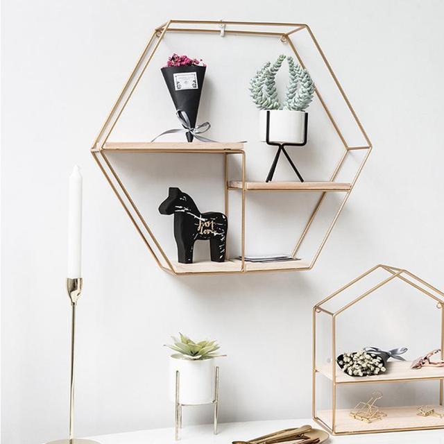 Innovative Geometric Shape Living Room Storage Rack Wall Shelf Wall-mounted Decoration Pendant Restaurant Porch Room Decor