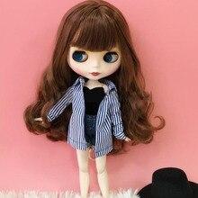1/6 модная одежда куклы длинная полосатая футболка Короткие Джинсовые штаны жилет одежда костюм для куклы блайз одежда