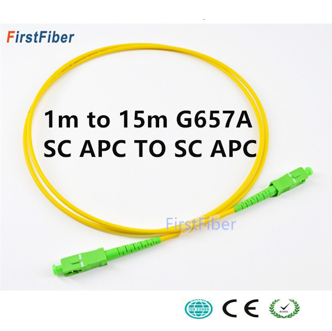 SC APC Fiber Patch Cable Optical Fiber Patch Cord 5m 2.0mm PVC G657A , Fiber Jumper Simplex SM FTTH Optic Cable 1m 2m 3m 10m 15m