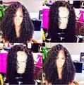 8A Mogolian Rizado Rizado Encaje Completo Pelucas de Cabello Humano Para Negro las mujeres Vírgenes Glueless Pelucas Llenas Del Cordón Del Afro Rizado Rizado Del Frente Del Cordón peluca