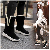 New Fashion Ankle Boots Women Winter Warmer Female Snow Boots Middle Tube Plush Bowtie Fur Suede Platform Cotton Shoes Ladies 1