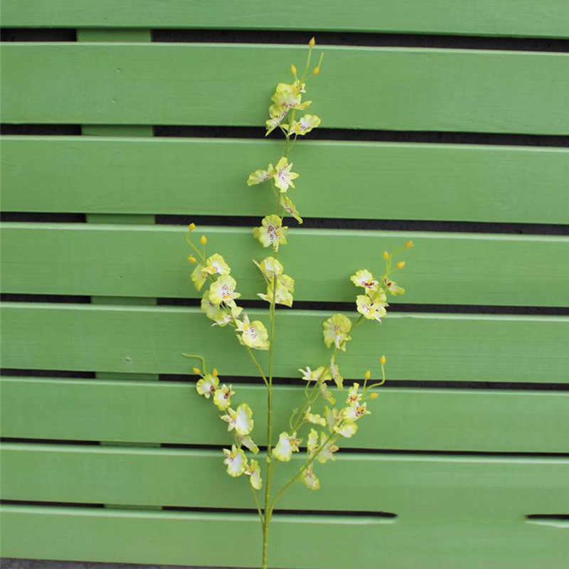 Orquídea artificial flores 5 ramo de alta qualidade seda oncidium hibridum dança-boneca orquídea para casa decoração do jardim de casamento a1050