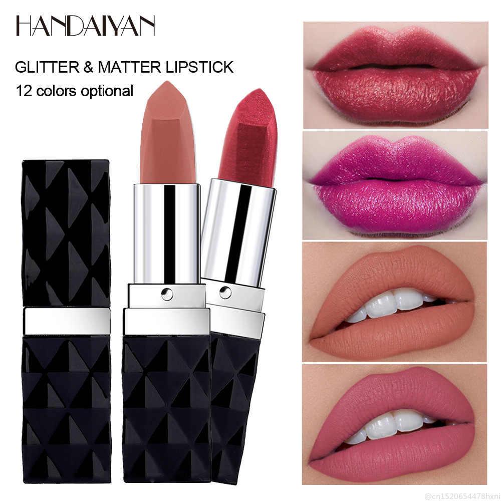 HANDAIYAN 12 צבעים מט מתכת שפתון לאורך זמן עמיד למים הבלחה נצנצים יוקרה Lipsgloss איפור קוריאני קוסמטי