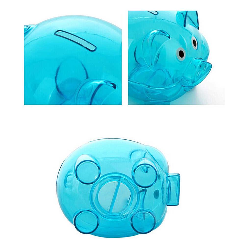 New Transparent Plastic Money Saving Box Case Coins Cartoon Pig Shaped Piggy Bank Cash Coin Money Box child gift F