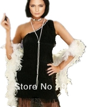 FREE SHIPPING S-3XL 459 Charleston Black Red Flapper Fancy Dress Costume  Feather Boa Headband 438b35ec7d9c
