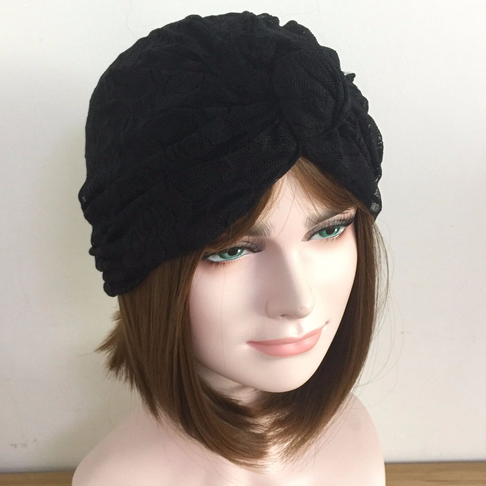 Hand Made Women Lace Bow Turban Elastic Knot Ttie India Beret Hat Woman Deep Cap Bandanas   Skullies     Beanies   Black White In Stock