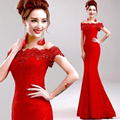 Elegante larga Sirena Del Cordón Rojo Madre de los Vestidos de Novia 2016 Barato Precio Crystal Prom Vestidos de Cuello Barco del partido-vestido