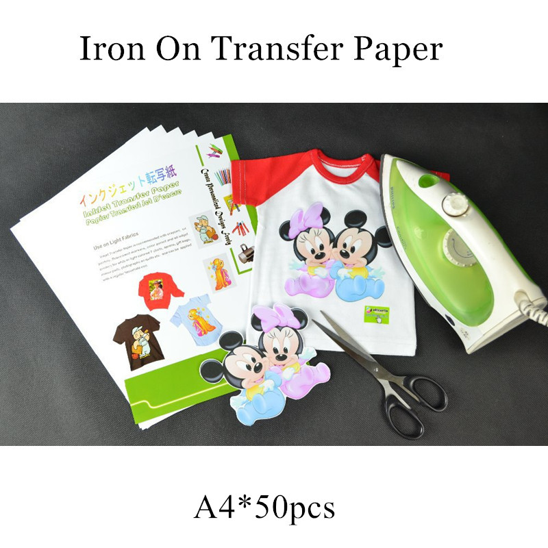 (50pcs/lot) Iron On Inkjet Heat Transfer Printing Paper For T Shirt A4 Size Iron On Ink Transfer Paper Papel Transfer