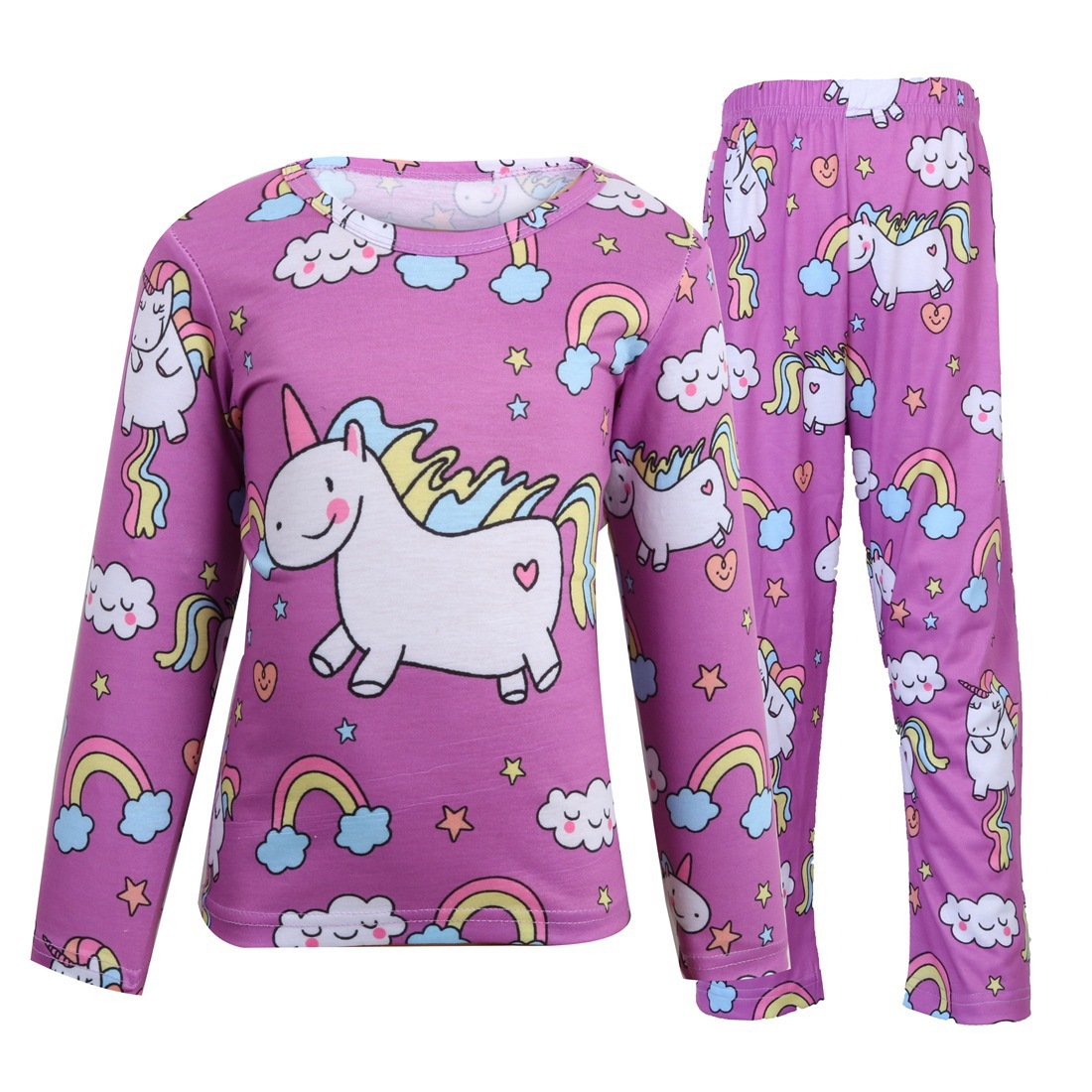 high quality 2019 Children clothing cartoon unicorn underwear bottoming shirt leggings suit girls home service girls outfits in Clothing Sets from Mother Kids