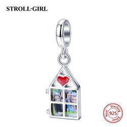 Strollgirl personalized Custom Sterling Silver Photo charm beads Fit pandora bracelet original for family love heart Charms gift