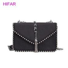 British Fashion Simple Small Square bag Womens Designer Handbag 2018 High-quality PU leather Rivet Tassel Chain Shoulder bags