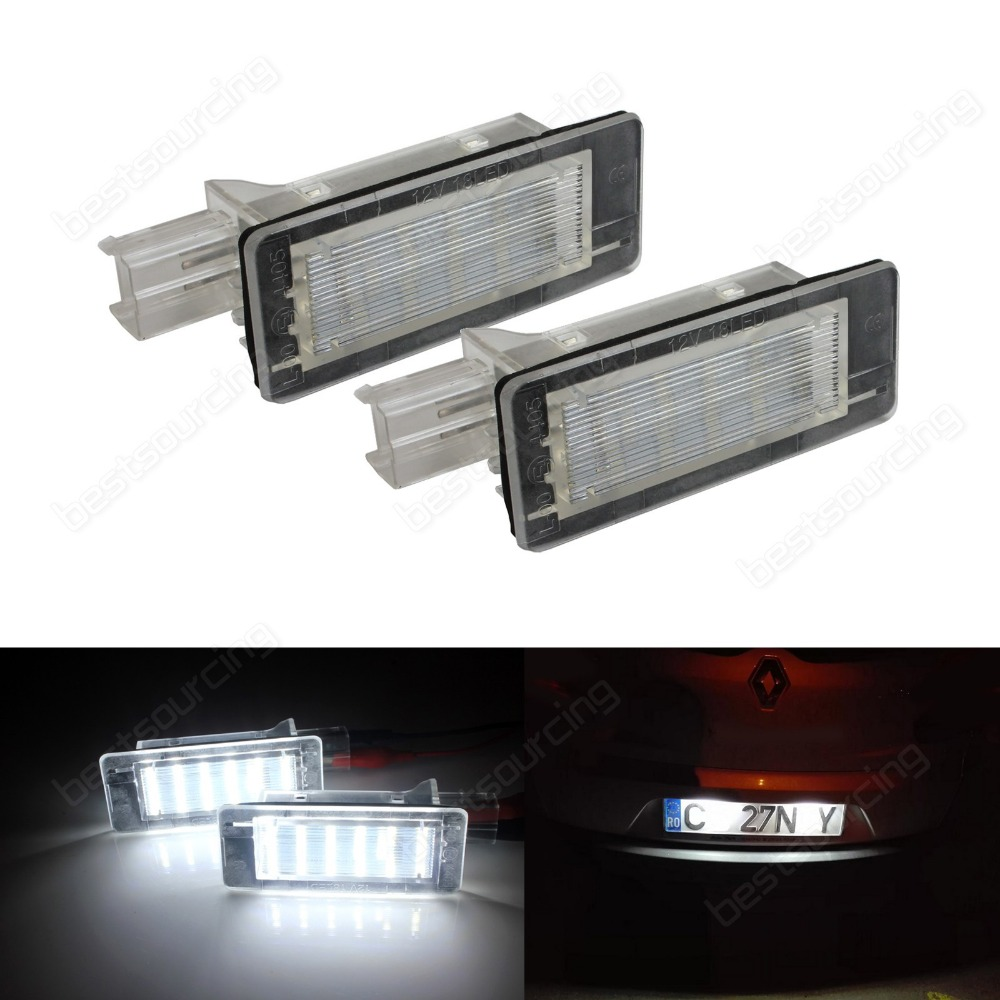 2pcs Error Free 18 SMD LED License Number Plate Light For Renault Lodgy (Fits: Renault Scenic)(CA325) 2pcs lot 24 smd car led license plate light lamp error free canbus function white 6000k for bmw e39 e60 e61 e70 e82 e90 e92