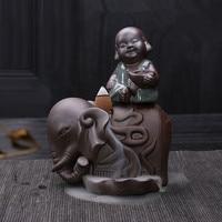 Ge Kiln Ceramic Elephants and Monk Back Flow Incense Burners Ceramic Plate Guanyin Buddha Creative purple sand Elephant Ornament