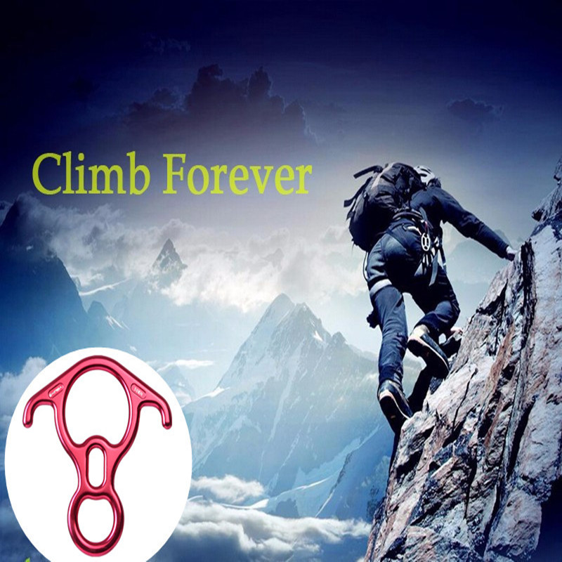 50KN 8 Shape Descender Outdoor Rock Climbing Carabiners Abseiling Downhill Safety Ring Belay Device Climbing Equipment aluminum anti panic self braking stop descender rock climbing mountaineering rescue safety belay device