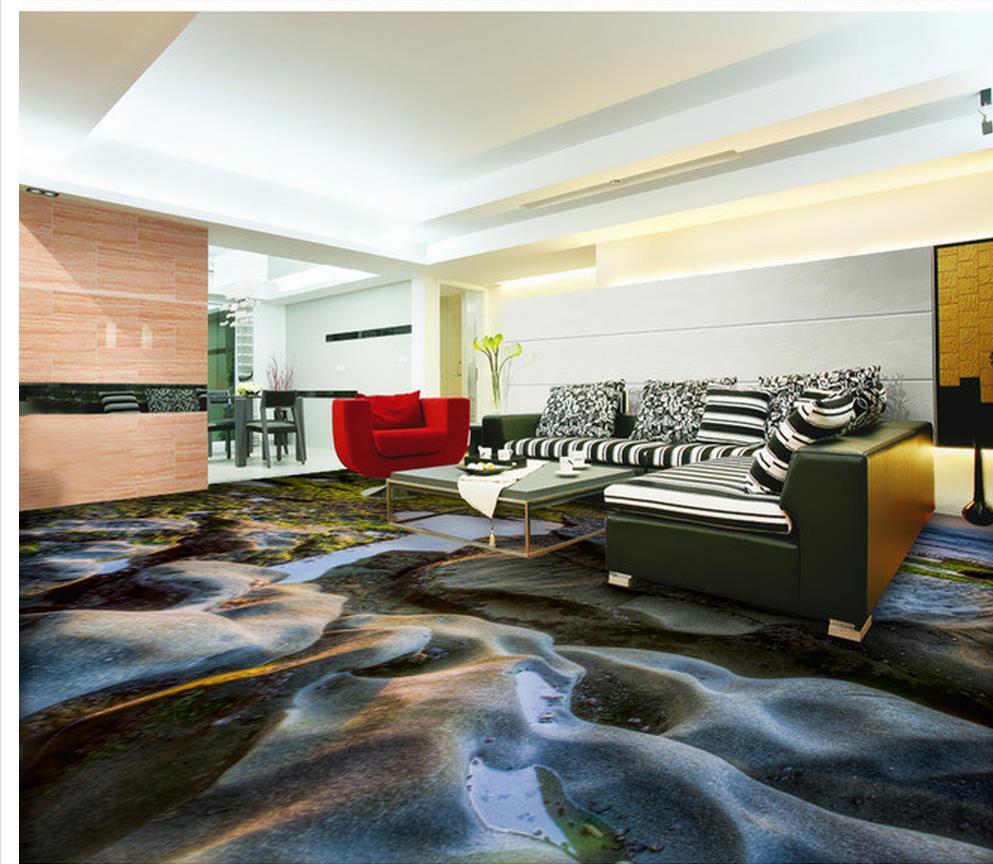 Home decoration 3d wallpaper pvc 3d sea floor rocks pvc for 3d pvc wallpaper