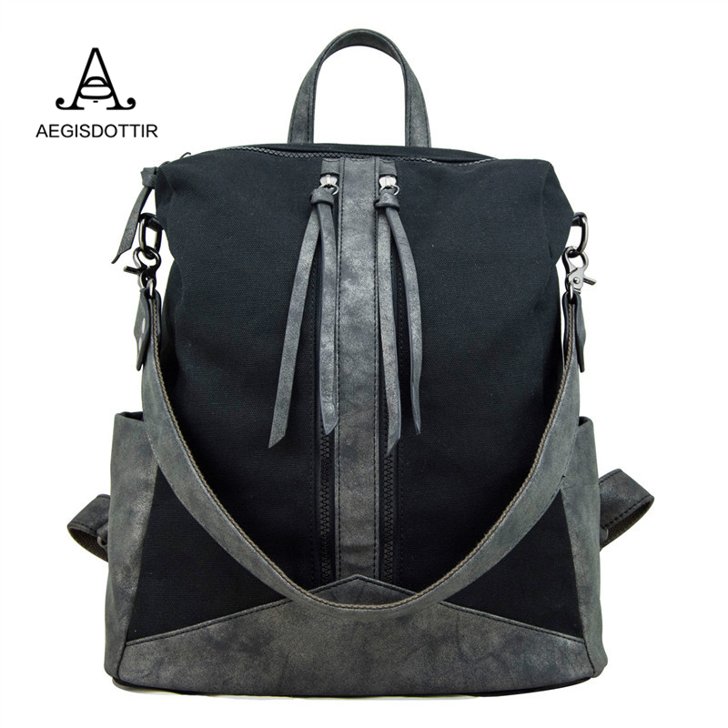 Unique Design Canvas and Pu Leather Female Backpack Women Four Colors Ladies Travel Backpack Backbag Rucksacks for Girls Bolsas