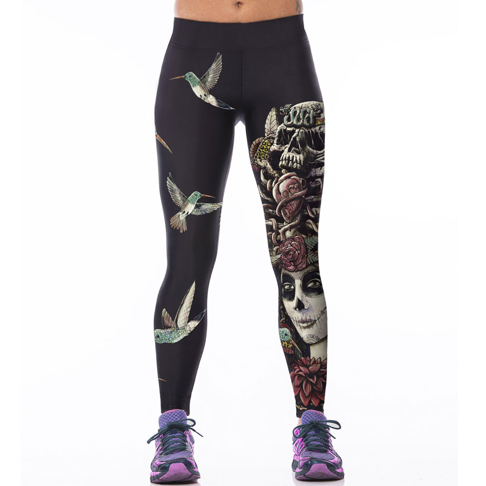 2015 Arrival Leggins Women Pants Waisted 3D Birds Rose Skull Printing Sport Leggings Lady's Finess Stretch Pants Cartoon Pants
