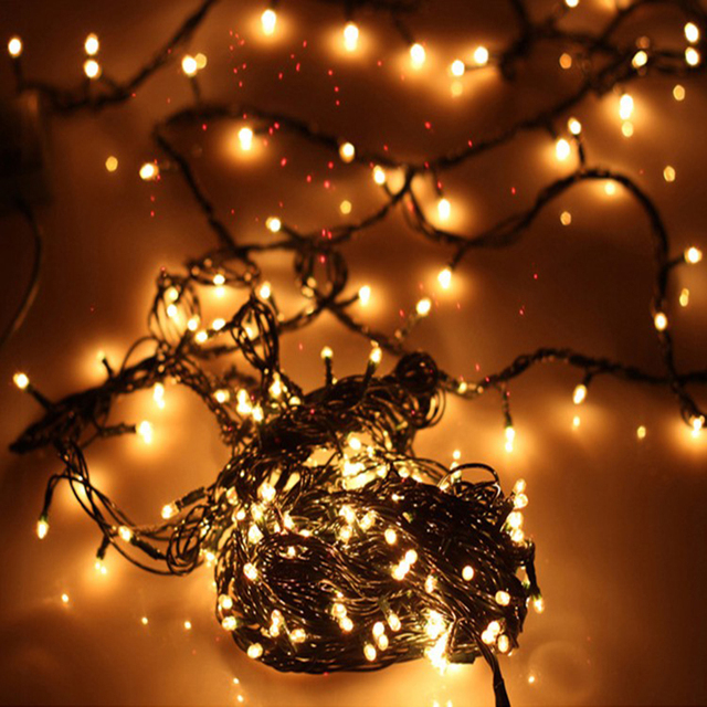 christmas warm yellow lights outdoor garden christmas tree decorative lights party bar twinkle bulbs 4 meters