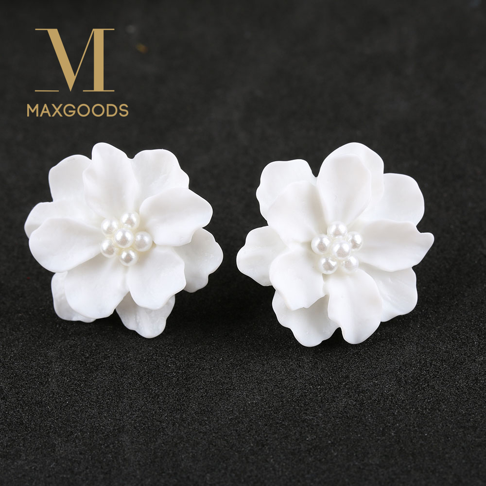 1 Pair New Fashion White Flower Earrings For Women Jewelry Elegant Gift Ear Studs In Stud From Accessories On