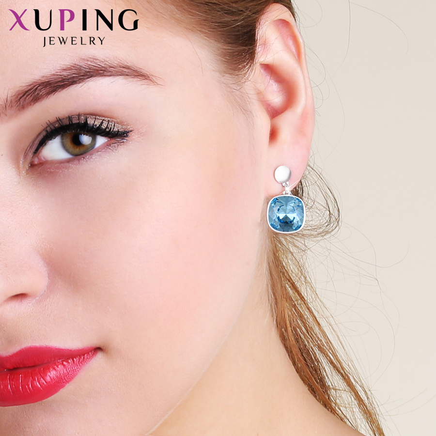 HTB1Hz2iXjLuK1Rjy0Fhq6xpdFXaY - Xuping Square Earrings Crystals from Swarovski Luxury Vintage Style Jewellery Women Girl  Valentine's Day Gifts M94-20493