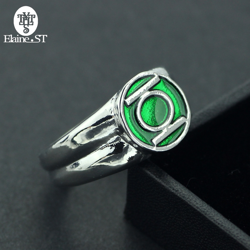 Adult Green Lantern Hero Ring Silver Metal Zinc Alloy