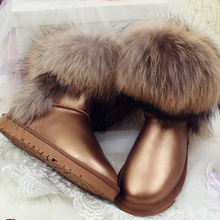 UBZ 2017 New Fashion Women's Natural Real Fox Fur Snow Boots 100% Genuine Leather women Boots Female Winter Shoes Free shipping