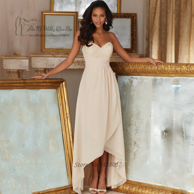 African Navy Blue Champagne High Low Bridesmaid Dress Long Back ...