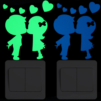Fall in Love Kissing Lover Luminous Switch Sticker Kids Room Bed Livingroom Furnitures Door Cabinet Home Decor Glow Wall Sticker