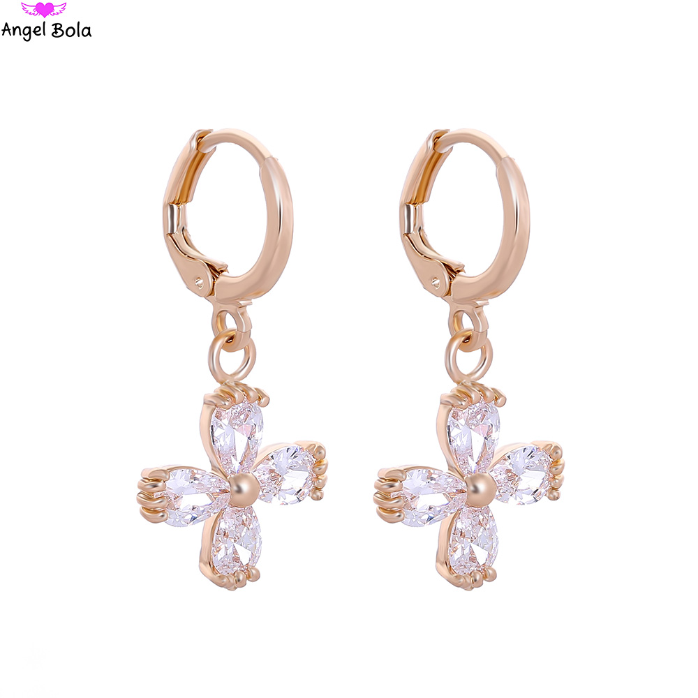 Wholesale 10pair 4 Petals Cluster Flower Stud Earrings Cubic Zirconia Stone Crystal Chri ...