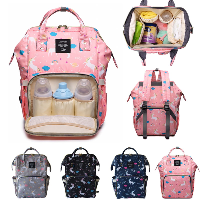 Diaper Bag Mummy Maternity Bag Fashion Large Capacity Lequeen Unicorn Baby Stroller Bag Nappy Changing Backpack For Mom Baby Bag