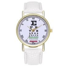 Модные повседневное для женщин часы мужской таблица проверки зрения кожаный ремень пряжка простые женские обувь для девочек кварцевые наручные часы relogio feminino