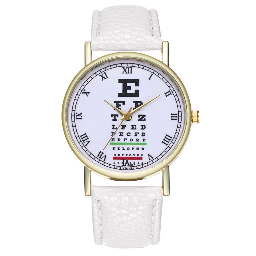 Fashion Casual Women Watch Male Eye Chart Leather Strap Buckle Simple Ladies Girls Clock Quartz Wrist Watches Relogio Feminino