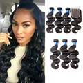 Brazilian Virgin Hair With Closure Body Wave With Closure Human Hair 3 Bundles With Closure Brazilian Hair Bundles With Closure