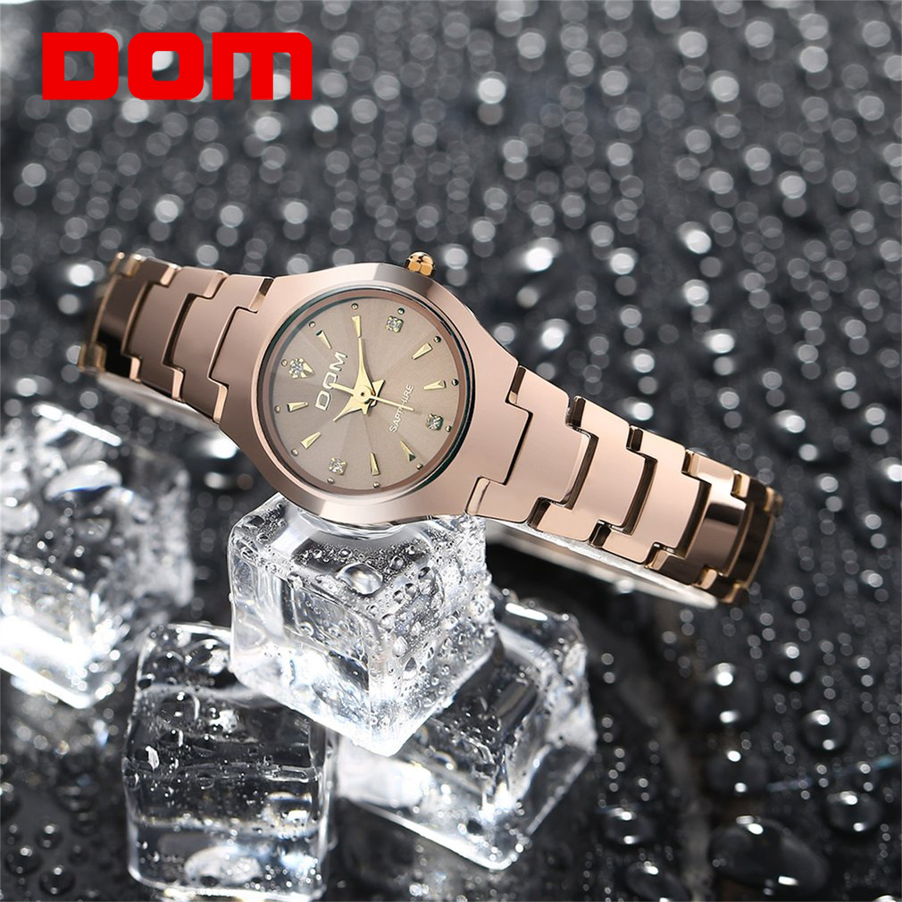 DOM 2017 Luxury Brand Quartz Women Watches Sapphire Clock Bracelet Ladies Dress Gold Wristwatch with FREE Gift Box Female Hot kimio brand bracelet watches women reloj mujer luxury rose gold business casual ladies digital dial clock quartz wristwatch hot