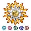 Женщины Моды Цветок Брошь Кристалл Горный Хрусталь Ювелирные Изделия для Свадьбы Подарок