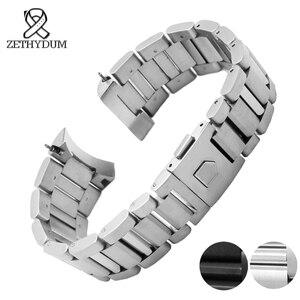 Image 3 - Bracelet de montre en acier inoxydable solide 22mm hommes montres marque supérieure de luxe argent bracelet noir remplacement en acier bracelets de montre en argent
