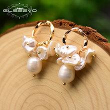 Женские серьги подвески с натуральным пресноводным жемчугом