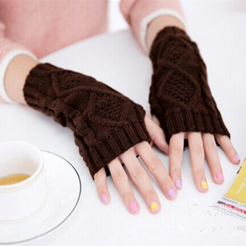 Apparel Accessories Collection Here Nibesser Long Womens Bracelet Gloves Fingerless Women Winter Warm Knitted Half Finger Gloves Female Fashion Gloves Woolen Yarn