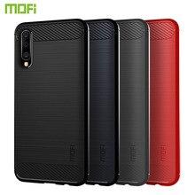 MOFi For Samsung Galaxy A50 Case Cover Shockproof Carbon Fiber Soft TPU Anti-Knock Cases Capa Coque